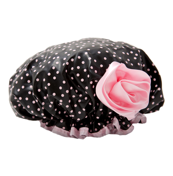Bath Diva Shower Cap (Black w/Pink Dots)